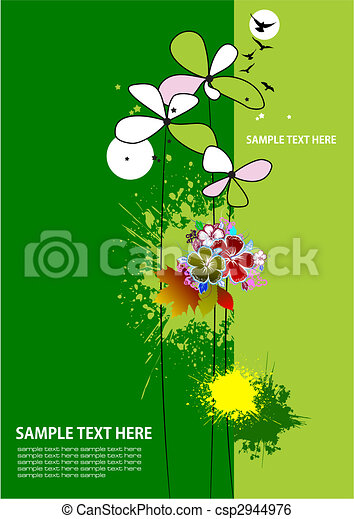 Cover for brochure with grunge floral background - csp2944976
