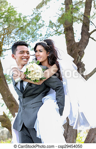 smile of happiness from romantic newlywed couple
