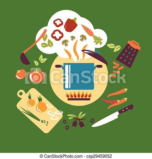 Lebensmittel, Wohnung, Vegetarier, Kochen, Design Vektor