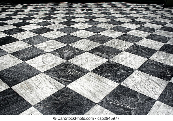 black et white marble floor - csp2945977