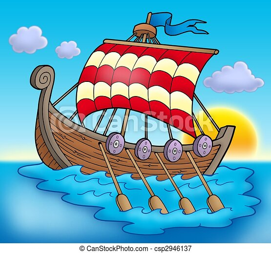 Stock Illustrations of Viking boat on sea - color illustration. csp2946137 - Search EPS Clipart ...