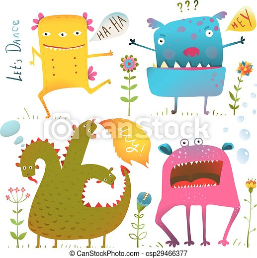 Fun Cute Kind Monsters for Children Design Colorful Collection - csp29466377