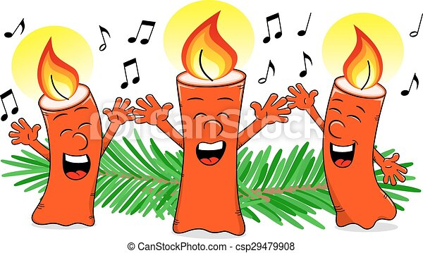 Vector Clipart of cartoon Christmas candles singing a Christmas ...