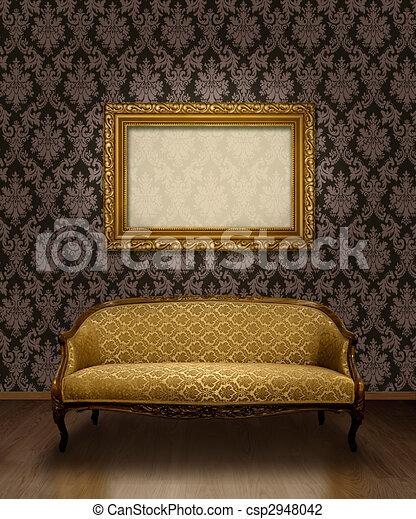 clip art von sofa rahmen klassisch klassisch antikes sofa und csp2948042 suchen sie. Black Bedroom Furniture Sets. Home Design Ideas