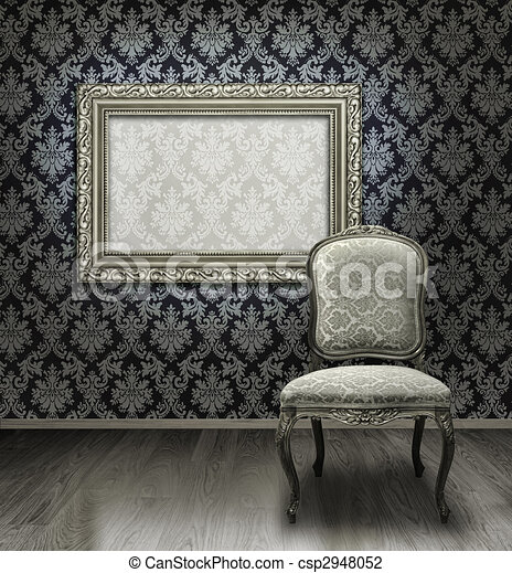 Classic chair and silver frame - csp2948052