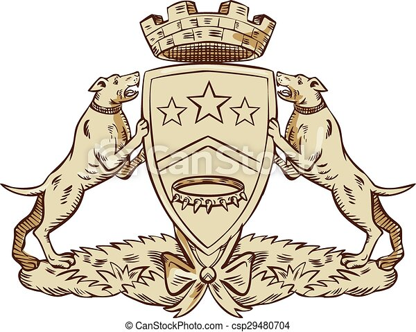 Vector Clipart of Pitbull Dog Coat of Arms Etching - Etching ...
