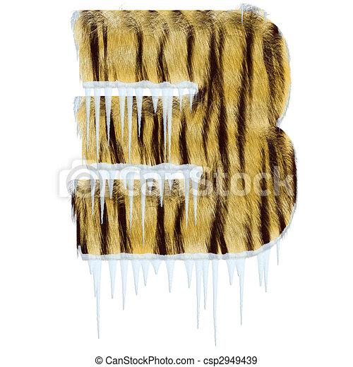 Frosty letter from tiger style fur alphabet - csp2949439