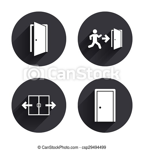 eps vectors of doors signs emergency exit with arrow