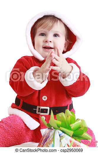 Little happy girl in red santa\'s clothes clapping in her hands - csp2950069
