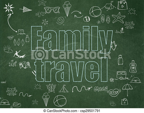 Travel concept: Family Travel on School Board background