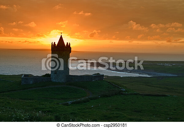 sunset capture of a old irish castle on west coast of ireland - csp2950181