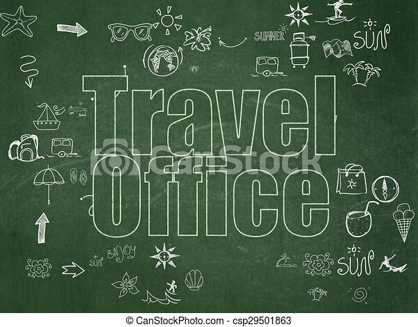 Travel concept: Travel Office on School Board background