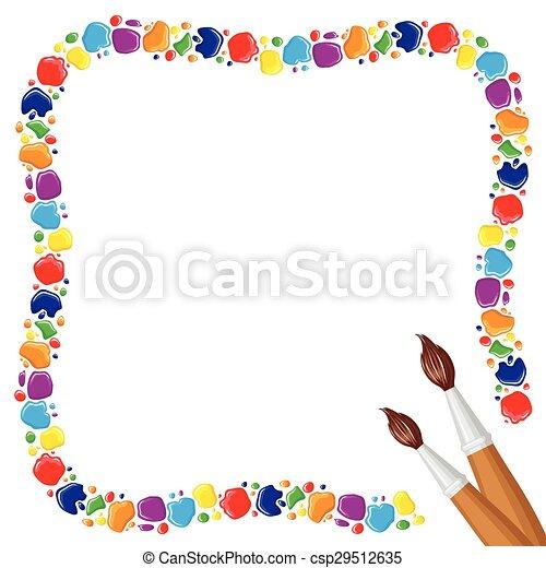 Vectores de gotas pinturas marco dos brochas gotas for Marcos para pinturas