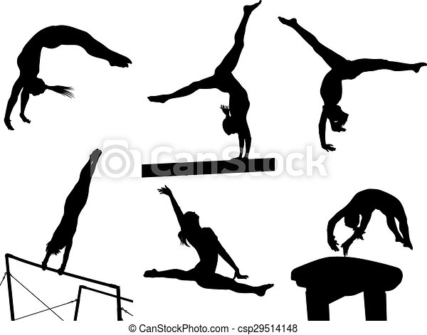 Eps Vector Of Female Gymnastic Silhouettes Female