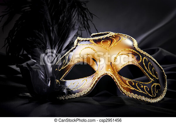 Carnival mask on black silk background - csp2951456