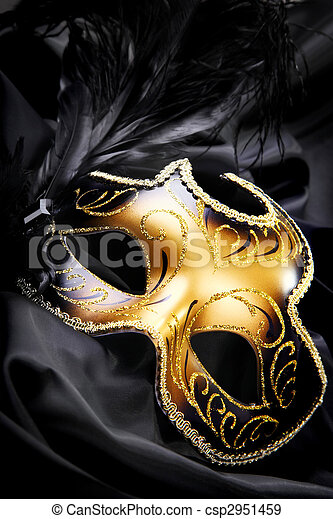 Carnival mask on black silk background - csp2951459