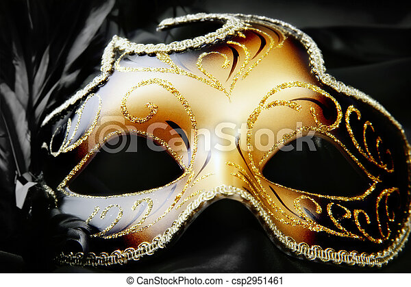 Carnival mask on black silk background - csp2951461