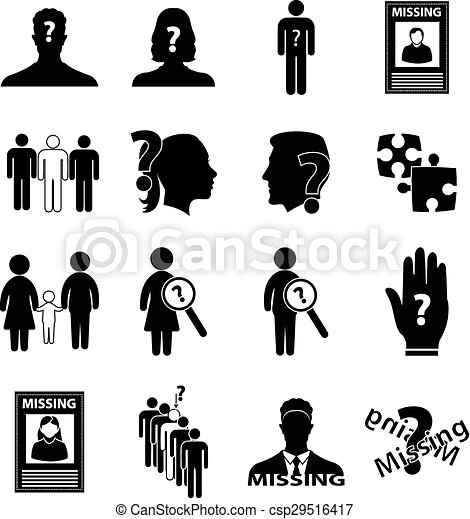 vector clip art of missing person icons set in black