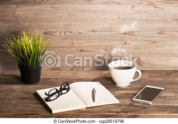 Business interior wooden workplace