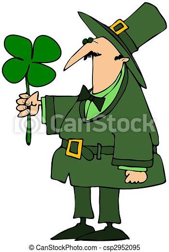 Leprechaun Holding A Four Leaf Clover - csp2952095
