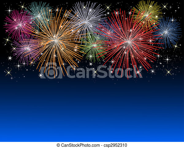 Stock Illustration of Fireworks on new years eve csp2952310 ...