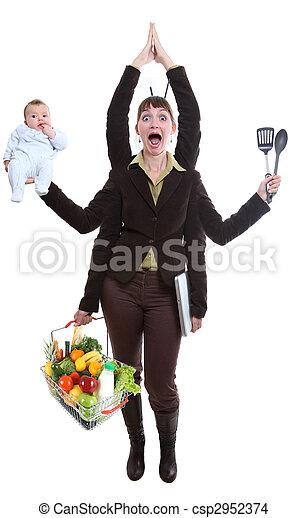 woman juggling fruit - csp2952374