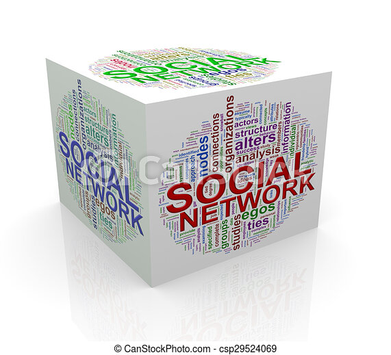 3d cube word tags wordcloud of social network - csp29524069