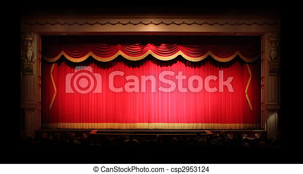 Genuine Stage Drapes inside a Theater - csp2953124