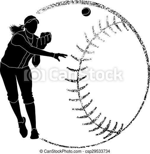 Softball Silhouette Throw - csp29533734