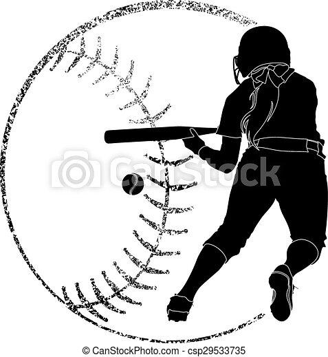 Softball Silhouette Bunt - csp29533735