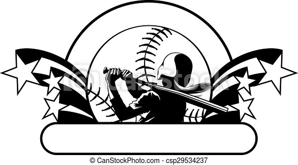 Softball Batter with Stars - csp29534237