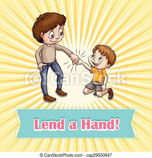 Idiom Lend A Hand - Royalty Free Vector EPS - csp29550647  Idiom Lend A Ha...