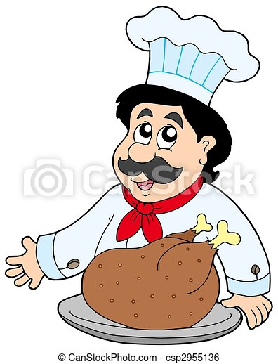 Cartoon chef with roasted meat - csp2955136