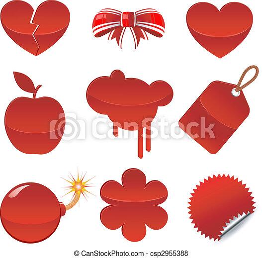 Set of red symbols - csp2955388