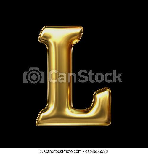 LETTER L in golden metal - csp2955538