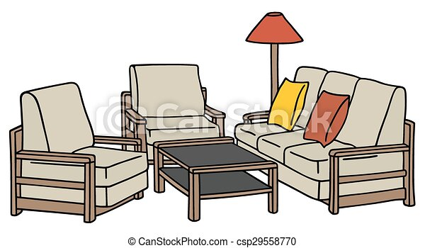 vektoren illustration von sessel couch hand zeichnung von a h lzern sofa csp29558770. Black Bedroom Furniture Sets. Home Design Ideas