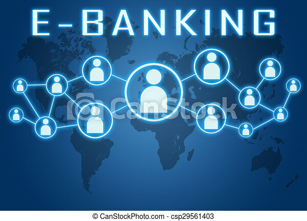 stock illustration of e banking concept on blue background