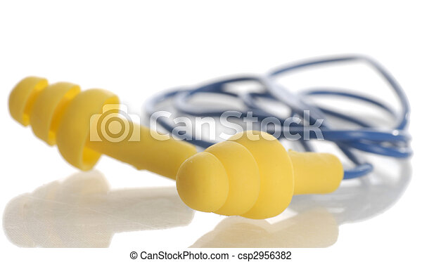 protective ear plugs with reflection on white background - csp2956382