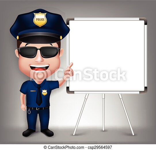 3D Realistic Police Man Character  - csp29564597