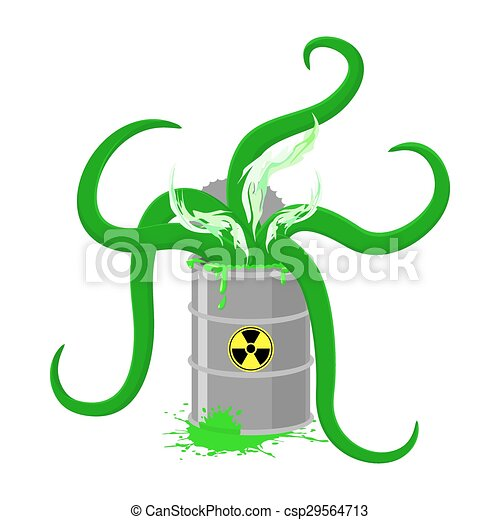 Vector Clip Art of Barrel of Toxic waste and green ...