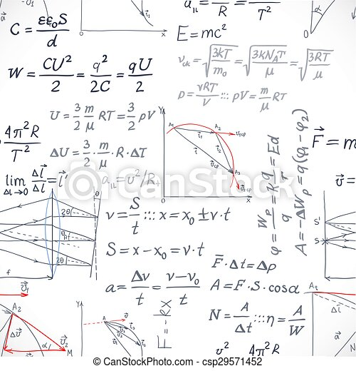 Seamless pattern of the formulas on the physics isolated on white background