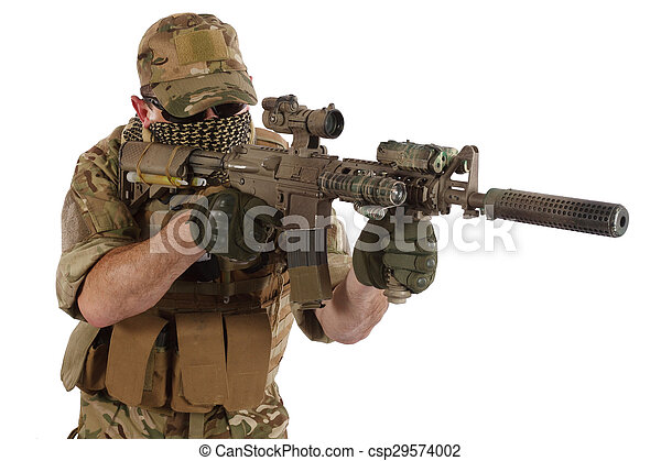Stock Photography of Private Military Contractor with carbine M4 ...