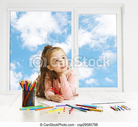 Child Drawing Pencils Dreaming Window, Creative Girl Thinking Inspiring Kid Looking Up, Art Education