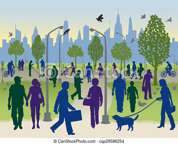 Clipart Vector of People Walking in a City Park - Vector ...