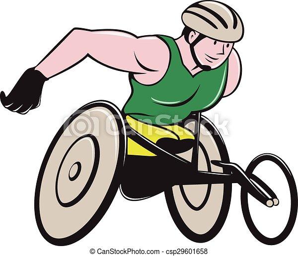 vecteur clipart de fauteuil roulant courses coureur