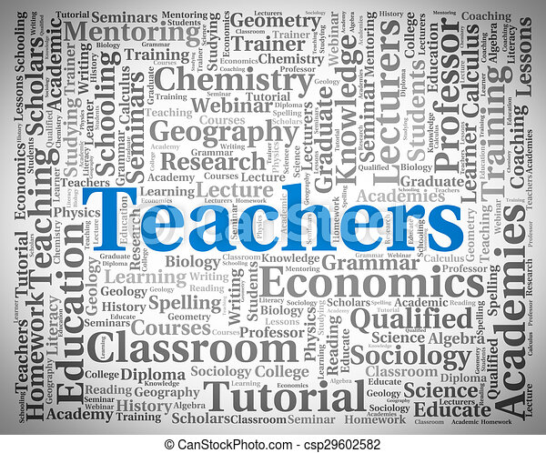 Stock Illustration of Teachers Word Indicates Give Lessons And ...