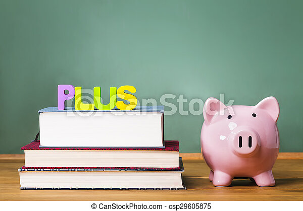 Federal PLUS Parent Loan to Undergraduate Students theme with textbooks and piggy bank and chalkboard background