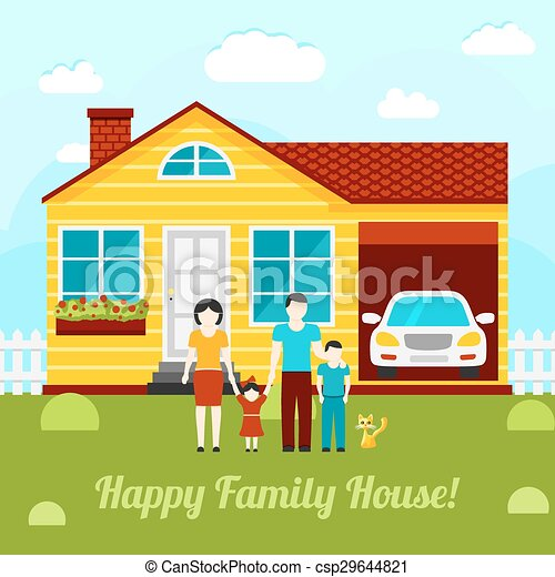 Happy family house concept illustration - couple with two kids, house, garage, car, cat. Vector - csp29644821