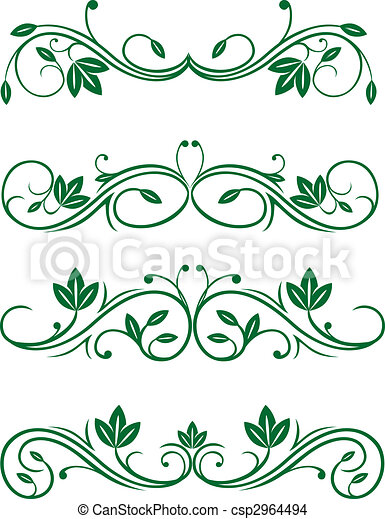 Eps vector of vintage floral decorations isolated on white for Drawing decoration ideas