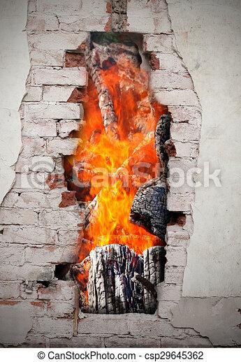 Fire in a wall